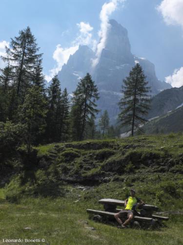 Il Crozzon di Brenta visto dalla malga Brenta Alta