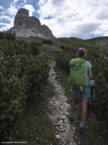 La torre Lavaredo vista dal passo del Col di Mezzo
