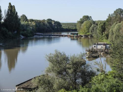 Ponte di barche sul fiume Oglio.